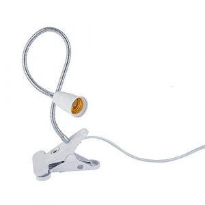 AiCheaX 360 Grad Flexibler Lampenhalter Clip E27 Sockel mit EIN Aus Schalter 1,8m Kabel Flexibler E27 Sockel Schreibtischlampe – (Farbe: Weiß, Sockeltyp: 5W Weiß)