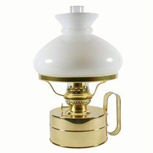 DHR Petroleumlampe Galley Messing poliert, mit weissem Vesta Opal-Glasschirm, Höhe 32 cm, 75 Std. Leuchtdauer, als Tischlampe und Wandlampe zu verwenden