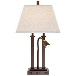 Moderne Desktop-Schreibtischlampe mit USB und Buchse Netz liegt auf Gooseneck Base LED Bronze Rechteckige Leinen Schatten für Wohnzimmer, Schlafzimmer, Büro