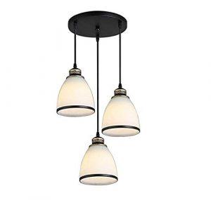 NUO-Z Antike Pendelleuchte Vintage Style Pendelleuchte Runde Retro E27 Deckenleuchten Weißes Glas Kronleuchter Deckenleuchter Wohnzimmer Esszimmer Beleuchtung