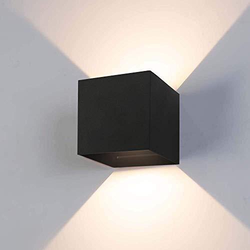 12W Wandleuchte LED Innen/Außen 2800-3000K Warmweiß Wandlampe LED Außenwandleuchte mit Einstellbar Abstrahlwinkel IP65 Wasserdichte 750lm ...