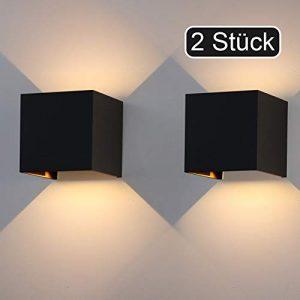 Klighten 2er LED Wandleuchten 12W,Innen/Außen Wandlampen,IP65,1020lm,Wandbeleuchtung Mit Einstellbar Abstrahlwinkel,2700K-3000K Warmweiß,Schwarz