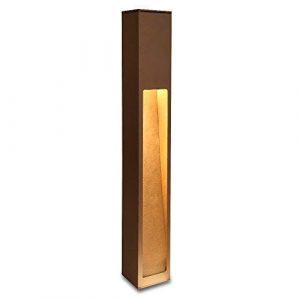 Wegeleuchte Aluminium rost-braun 75 cm | einseitiger Lichtaustritt + E27 + IP43 + gebürstet + winterfest + dimmbar + indirektes Licht | Gartenbeleuchtung | Außenlampe | Standleuchte | Außenleuchte
