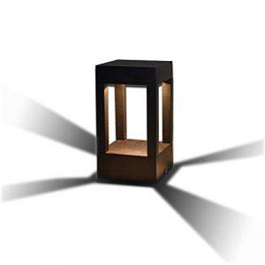 10W LED Energiespar-Wegeleuchte | Pollerleuchte | Wegelampe | Sockelleuchte Gartenleuchte | Außenleuchte | Aluminiumguss | Außenlampe Gartenlampe IP44 warmweiß 3000K 700 lm | Eckig | Schwarz