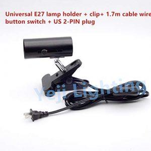 AiCheaX E27 Schraubverschluss Universal Clip Lampenhalter mit US 2 PIN Stecker für Schreibtischlampe Aquarienlampe Beleuchtungszubehör DIY – (Farbe: Schwarz, Sockeltyp: EU 2 PINS Stecker)