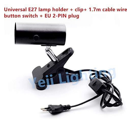 AiCheaX E27 Schraubverschluss Universalclip Keramik Lampenfassung mit EIN/AUS Schalter EU 2 PIN Stecker für Schreibtischlampe Beleuchtungszubehör - (Farbe: Schwarz, Sockeltyp: französischer Stecker