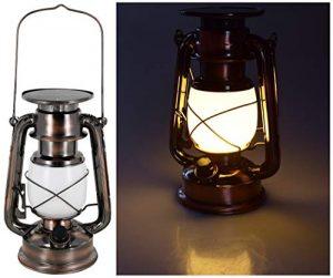 LED Solar Retro Sturmlampe – Drehschalter mit Dimmfunktion – Metallgehäuse – Lithium-Akku – 420 Lumen – warmweiß (2700 K)