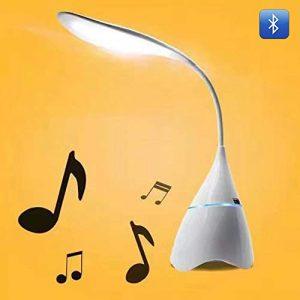 YYMG LED Schreibtischlampe mit Bluetooth 4.2 Stereo Berühren Sie Einstellbar Kaltes/warmes Licht USB Aufladen Tragbare Tischlampe Passend für Büro/Schlafzimmer/Studie (Weiß),Weiß