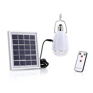 4 in 1 LED Solarlampe, SUAVER Wasserdricht Solarleuchten 12 LED E27 Glühbirnen Rechargeable Dimmbar Fernbedienungskontrolle Solarbetrieben Kaltweiß
