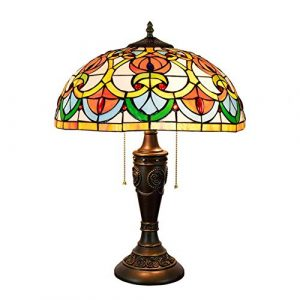 Light-GYH Tiffany-Stil Tischlampen, Glasmalerei Retro kreative dekorative Schreibtischlampen, Studentenwohnheim, Mädchen Zimmer Nachttischlampe 16 Zoll