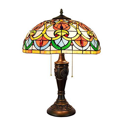 Light-GYH Tiffany-Stil Tischlampen, Glasmalerei Retro kreative dekorative Schreibtischlampen, Studentenwohnheim, Mädchen Zimmer Nachttischlampe 16 Zoll