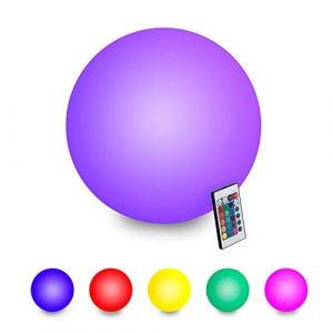 SQL LED-Lichtkugel 6 Zoll RGB Dimmable Globe, Nachttischlampe mit Fernbedienung, 16 Farben, die schwimmende Poolbeleuchtung ändern, USB-Aufladung, IP65 wasserdicht,25CM