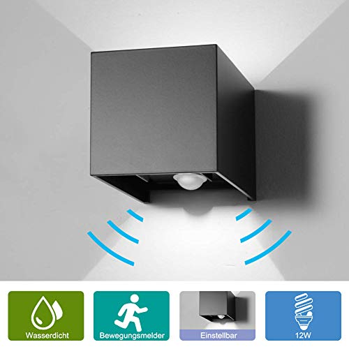 12W Wandleuchte Bewegungsmelder Aussen/Innen LED Wandbeleuchtung, Warmes Licht Wasserdicht Verstellbare Walllampe, Bewegungsmelder LED Wandleuchte Sensor für Garten/Weg Veranda hell-Warm (Schwarz)