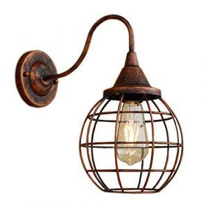 GYing Industrie Retro Wandleuchte E27 Innen Wandlampe Metall Kafig Design Flurlampe Nachttischlampe Balkonlampe Wandbeleuchtung Wohnzimmer Schlafzimmer Esszimmer Galerie Treppen Gang,Rostfarbe
