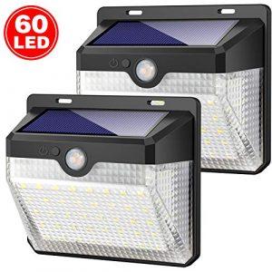 Solarleuchte für Außen,[Einfach zu installieren-2 Stück] Kilponen 60 LED Solarlampen Außen mit Bewegungsmelder [ 2000mAh] Wasserdichte 270°Solar Beleuchtung Solarleuchten Garten 3 Modi für Garten
