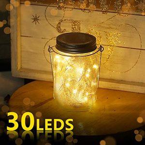 Nasharia Solar Mason Jar Licht, Jar Fee Licht Außen, 30 LED String Licht Glasgläser Garten Hängeleuchten, LED Weihnachtsbeleuchtung Lichterkette für Party, Hochzeitsdekoration (Warmweiß)