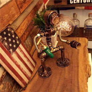 MAONB Loft Iron Pipe Tischlampen Schreibtischlampe Industrial Vintage Water Pipe Tischleuchte Vintage Loft Robot Design Nachtlaterne E27