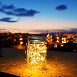30 LED Solarlampen für Außen,Solarglas Einmachglas,Solarleuchte Tisch,Solarlicht Garten,Solarlicht fuer Dekoration Garten (1 Stück)