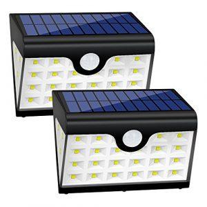 Solarleuchten Garten 28 LED mit Bewegungsmelder Solar Wandleuchte 3 Seite 3 Modi Super Hell Solarleuchten Weitwinkel IP65 Wasserdicht Unterstützung Solar Laden oder USB-Kabel Laden für Flur Wand usw