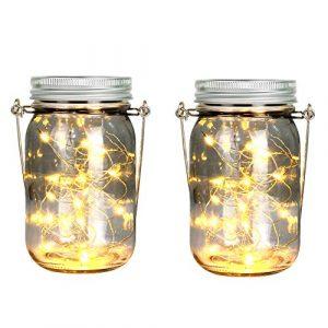 Yizhet 2 Stück Solar Mason Jar Lights Solarglas Einmachglas Gartenleuchte Hängeleuchte Garten Laterne Solarlampen für Außen,Gartenlicht Solar Jar Licht Deko für Zimmer, Terrasse (20LEDs Warmweiß)