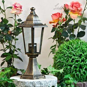 Rustikale Außenlampe Antik Gold VELENCE E27 wetterfest H:38cm Laterne Standleuchte Garten Weg Terrasse