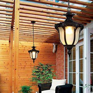 Außen-Hängelampe, Pendellampe Außen, Industrielle Pendelleuchte, IP54 Wasserdichte Hängeleuchte, Aluminium und Glas, E27, Schwarz, 9W LED, Warm Licht – für Terrasse Garten Korridor Hauseingang Lampe