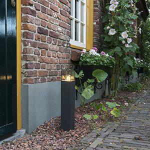 QAZQA Modern Außenleuchte/Wegeleuchte/Gartenlampe/Gartenleuchte/Standleuchte Denmark P50 Graphit/Außenbeleuchtung Aluminium/Kunststoff Würfel/Quadratisch/Länglich LED geeignet E27 Max. 1