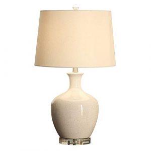 JGHR Moderne American Ceramic Tischlampe European Art Beige Nachttischlampe Exquisite Keramik-Basis Stoff Lampenschirm Tischlampe für Schlafzimmer, Wohnzimmer Hotel