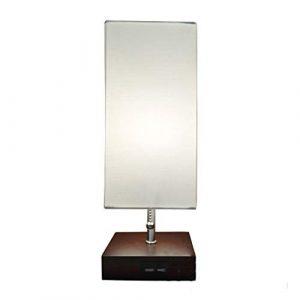 JGHR Nachttischlampe Dual Charging USB Schreibtischlampe Quadrat Stoff Braun Holzsockel für Schlafzimmer, Wohnzimmer, Büro