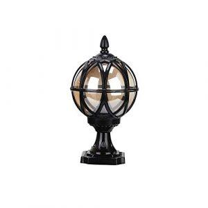 XIAOXY European Outdoor Glas Tischlampe Säule Lampe Straße Pfosten-Licht-E27 Dekoration Beleuchtung Tradition Antike Victoria Wasserdichte Aluminium Garten Rasen Lichter (Color : Black-S)
