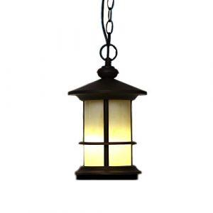 Reisx Moderne wasserdichte Villa Courtyard Deckenpendelleuchte E27 LED rechteckige Rust Metal Pendelleuchte Balkon Garagentor Glas hängende Laterne Outdoor Deckenleuchte