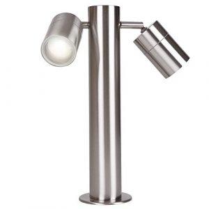Wegeleuchte Edelstahl inkl. Leuchtmittel (2x GU10 35 Watt Halogen) 35,5 cm | schwenkbare Strahlerköpfe + IP44 + robust + winterfest + dimmbar | Gartenlampe | Wegleuchte | Standleuchte | Außenlampe
