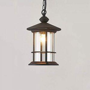 Reisx Klassische antike rustikale hängende Deckenleuchte E27 im Freien wasserdichte Aluminiumglas-hängende Laterne-Außengarten-Hof-Leuchter-Beleuchtung