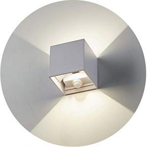 Topmo-plus Wandleuchte Bewegungsmelder Wasserdicht Wandlampe Sensorleuchte Verstellbarer Abstrahlwinkel / 12W bridgelux COB Sensor Aussenlampe Treppen/Flur/Garten/Veranda/Würfel 4000K weiß