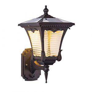 Solar LED Außen-Wandleuchte Rustikale Solarleuchte, Antik Retro Wandlampe für Innen- und Außenbereich, IP65 Wasserdichte, Vintage Außenlampe für Balkon Treppen Terrasse Garten, Schwarz