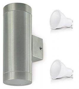LED Außenleuchte Aussenlampe Wandleuchte Edelstahl UP & DOWN MAGA (2x 3Watt Warmweiß)