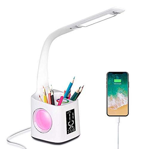 Wttfc LED-Schreibtischlampe Mit USB-Ladeanschluss, Wanjiaone Study Lampe Für Kinder, Uhr Helle, Bunte Nachtlicht