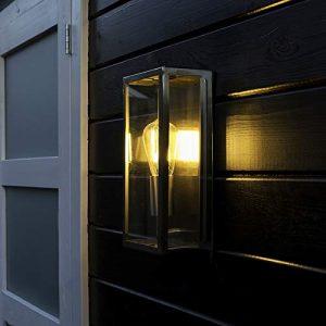 QAZQA Modern Moderne rechteckige Außen Wandleuchte Stahl/Silber/nickel matt – Rotterdam 1 / Außenbeleuchtung Glas/Edelstahl Rechteckig LED geeignet E27 Max. 1 x 60 Watt