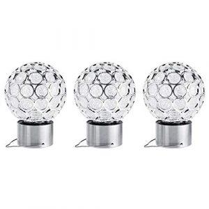 3Pcs Solar Hängeleuchten, Ball Form Crackle bunten Glas Globe LED-Licht, Dekoration für Rasen Patio Yard Gehweg Auffahrt Pathway Landschaft