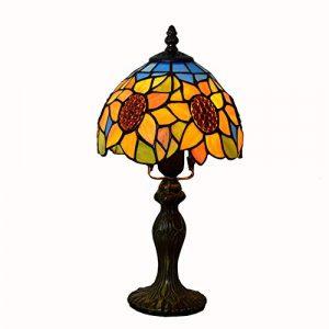 Light-GYH 8-Zoll-Sonnenblumen Glasmalerei Tischlampe, Retro Tiffany Stil Nachttischlampe E27 Geschenk Schreibtischlampe mit Bronze Basis für Wohnzimmer Schlafzimmer Lampe