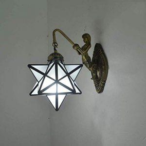 ALBN Wandleuchte im Tiffany-Stil, Ruckseite aus Glas Sconces Nachttischlampe mit Sockel aus Legierung Wandlampe Badlampe LED Bugel E27 Retro 1