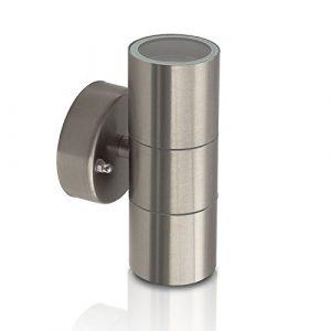 1x Wandleuchte BALENO-S Edelstahl IP44 230V geeignet für Halogen und LED Leuchtmittel – Up and Down – innen und außen