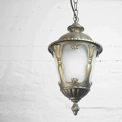 Antike Pendelleuchte Glas Aluminium wetterfest E27 Ø21cm Außen Lampe Decken Balkon Eingangsbereich