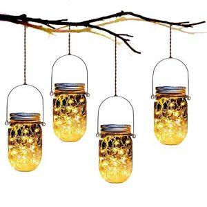 BONNIO Stern Solar Garten Lichter LED Jar Lights wasserdichte Outdoor-Dekor Hängelampen für Gartenparty