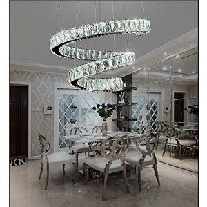 ASDF Henley Kristall Pendelleuchte Modern Esszimmer Kronleuchter, 72W LED Hängelampe Spirale Kristalllampe Höhenverstellbar Pendellampe für Wohnzimmer Esstisch Küche, 6000K Weiß Licht