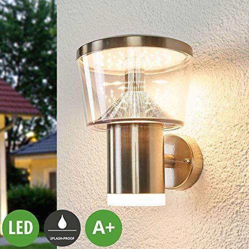 Lampenwelt LED Wandleuchte außen 'Antje' (spritzwassergeschützt) (Modern) in Alu (1 flammig, A+, inkl. Leuchtmittel) - Edelstahl Außenwandleuchten, Wandlampe, Außenlampe, Wandlampe für
