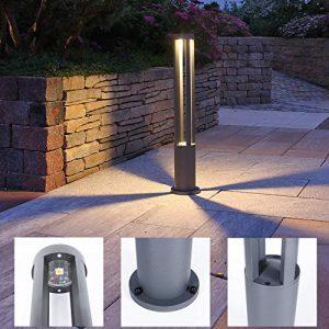 LED Wegeleuchte inkl. 10W LED-Leuchtmittel warmweiß, Alu grau lackiert IP65 rostfreie Außenleuchte 80cm + Gratis Spannungsprüfer