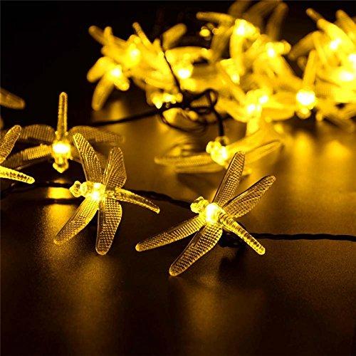ledmomo Solar Libellen Lichterkette Die Sequenz-Feen der Pendelleuchte LED Wasserdicht Dekoration für Weihnachtsbäume von der Nähe Garten Patio im Freien (warmweiß)