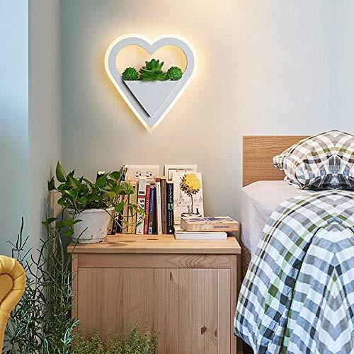 GYing Moderne 11W LED Wandleuchte Innen Weiss Metall und Acryl Wandlampe mit Simulierter Pflanzen Dekor Nachttischlampe Schlafzimmerlampe Flur Gang Galerie Wandbeleuchtung,3000K Warm Licht