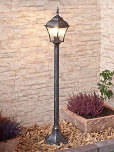Edle Standleuchte in antiksilber inkl. 1x 12W E27 LED 230V Stehleuchte aus Aluminium & Glas Stehlampe für Garten/Terrasse Standlampe Garten Weg Terrasse Lampen Leuchte außen Beleuchtung